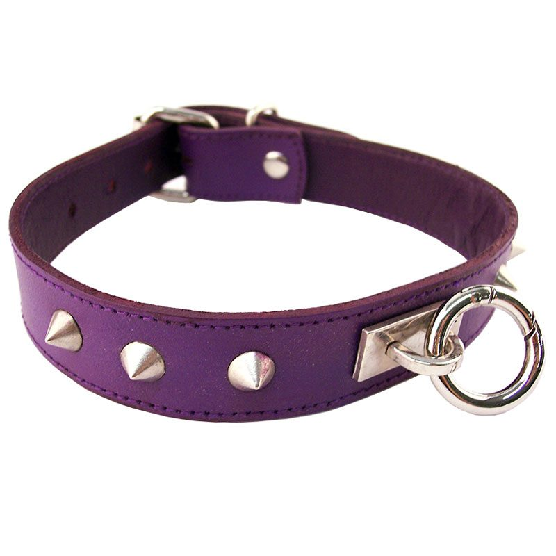 3 inch wide purple and black leather padded posture collar